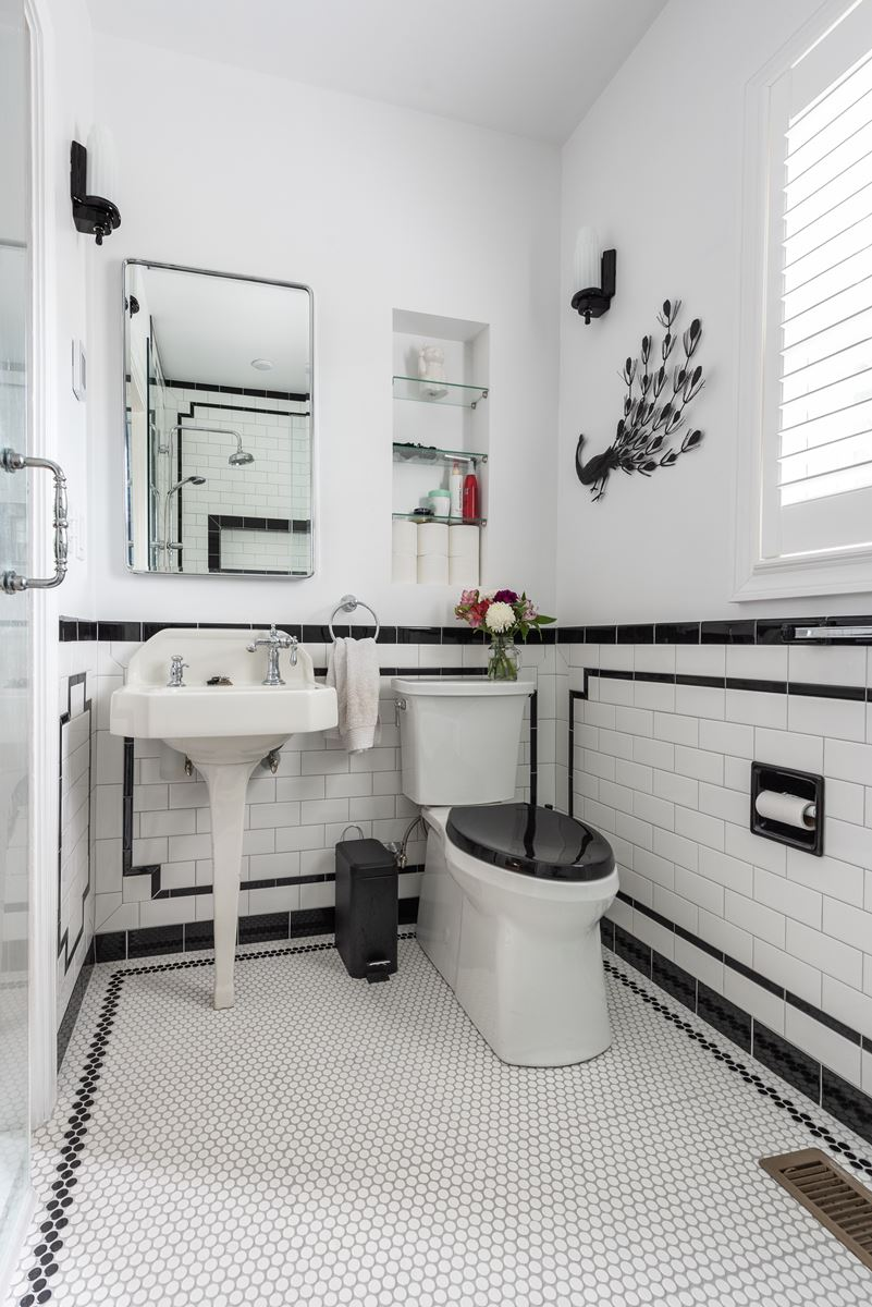 Black And White Art Deco Bathroom Renovation In Providence Ri
